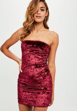 Burgundy Crushed Velvet Bandeau Dress