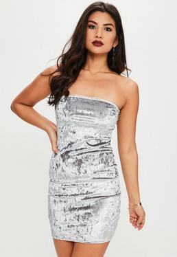 Silver Crushed Velvet Bandeau Bodycon Dress