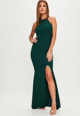 Green Sleeveless 90s Neck Split Hem Maxi Dress