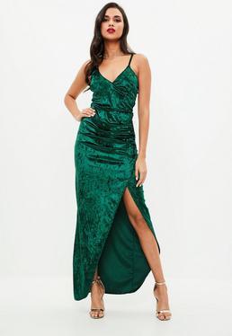 Green Velvet Ruched Side Split Maxi Dress