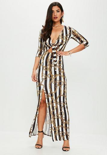 White Chain Print Slinky Tie Front Maxi Dress Missguided