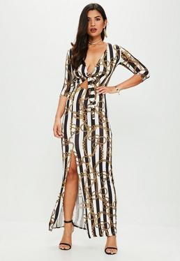 White Chain Print Slinky Tie Front Maxi Dress