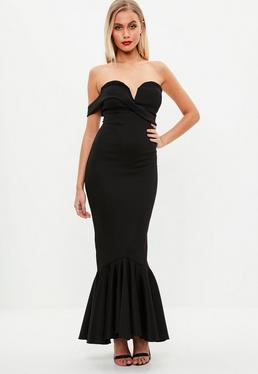 Black Asymmetric Bandeau Fishtail Maxi Dress