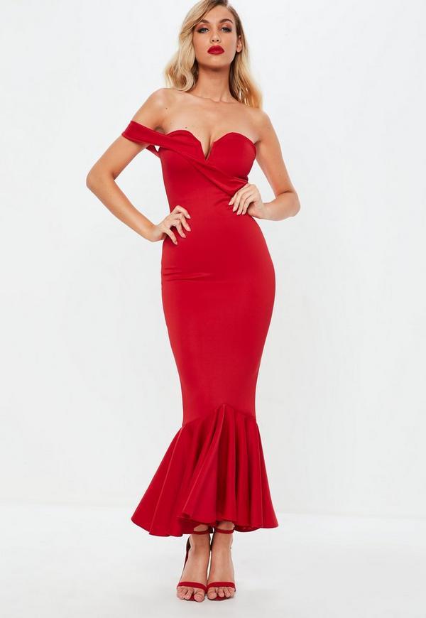 70075a9d8836d Red Bardot Fishtail Midi Dress Missguided | 2019 trends | xoosha