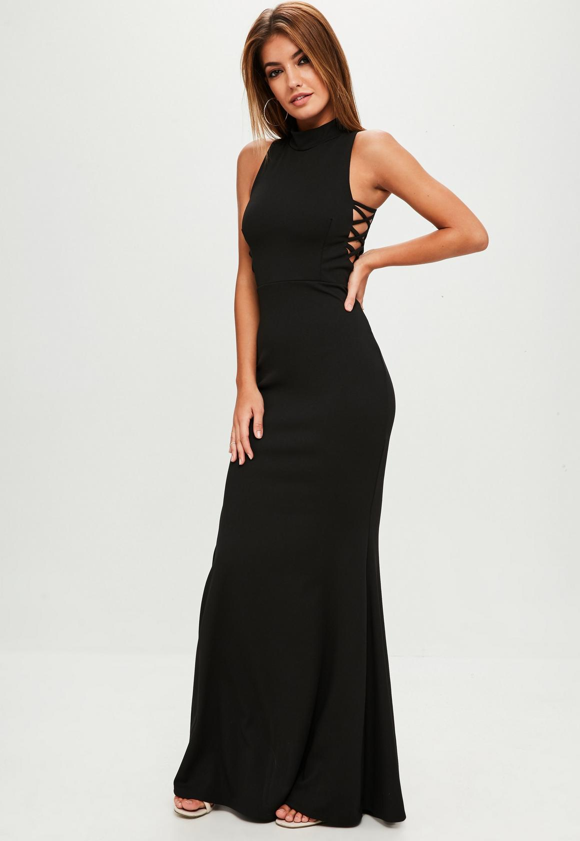 Black High Neck Strap Side Maxi Dress | Missguided