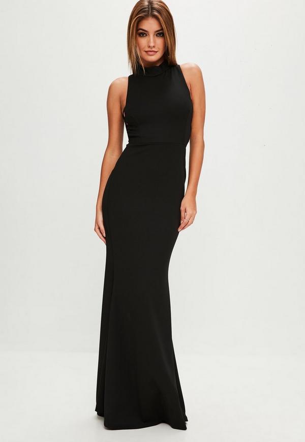 Black High Neck Strap Side Maxi Dress | Missguided Ireland