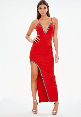 Red Plunge Beaded Trim Maxi Dress