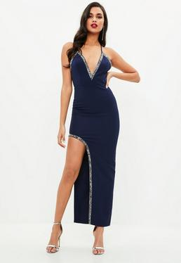 Navy Plunge Cross Back Beaded Trim Maxi Dress