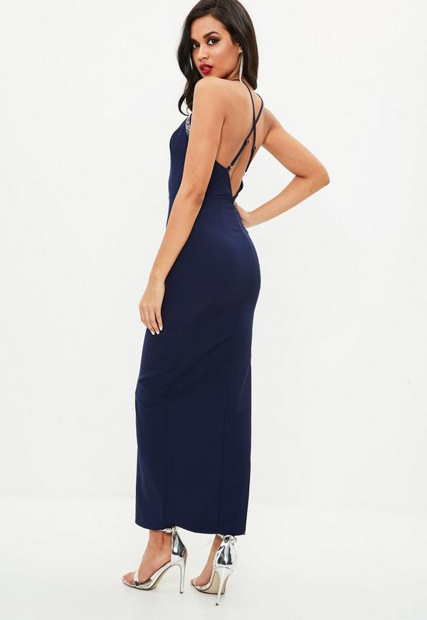 Robe de cocktail longue bleu marine