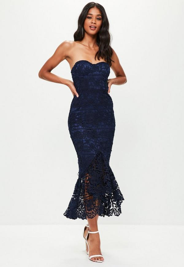 Blue Lace Fishtail Maxi Dress Missguided
