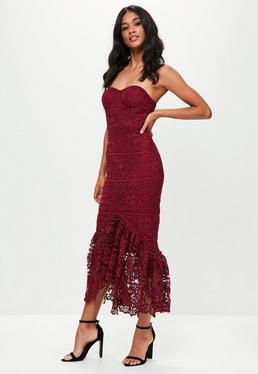 Burgundy Lace Fishtail Maxi Dress