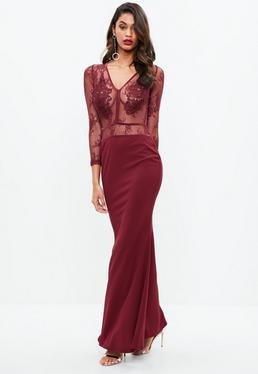 Burgundy Lace Applique Plunge Crepe Maxi Dress