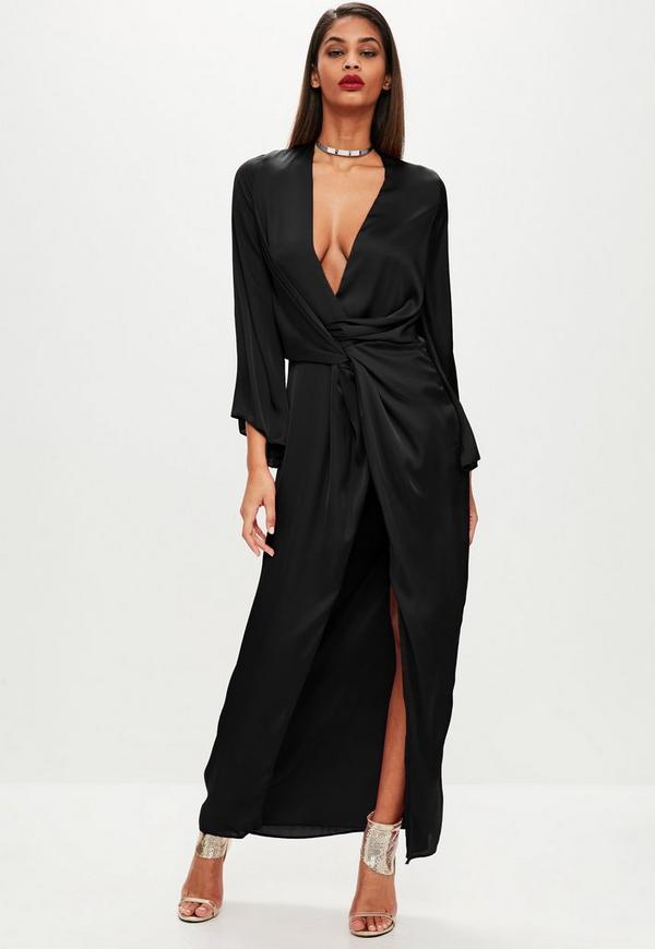 Black Satin Plunge Kimono Maxi Dress Missguided