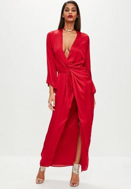 Red Satin Plunge Kimono Maxi Dress
