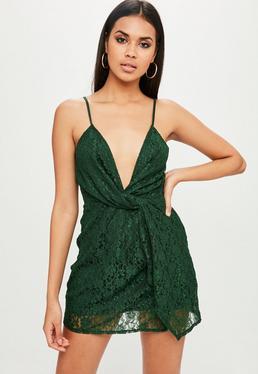 Green Lace Twist Front Dress