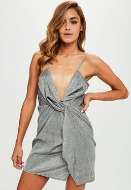 Silver Twist Front Shift Dress