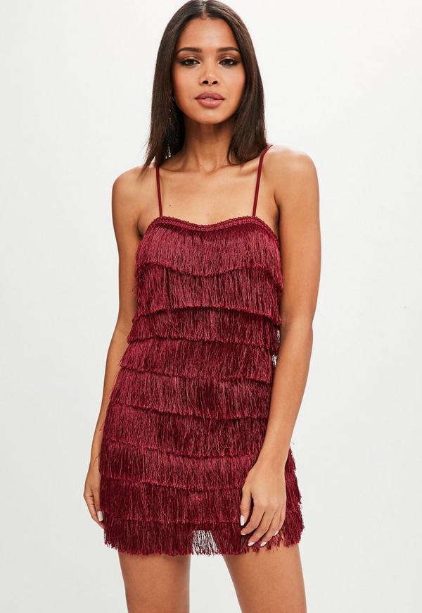 Burgundy Strappy Layered Fringe Dress Missguided