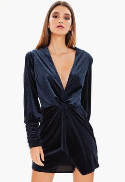 Navy Velvet Slit Sleeve Knot Front Wrap Dress