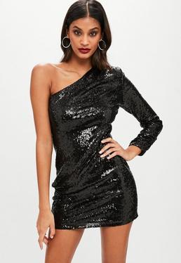 Vestido asimétrico de lentejuelas en negro
