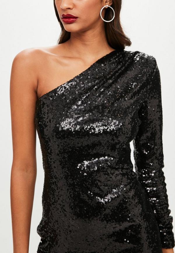 Black One Shoulder Sequin Dress Missguided