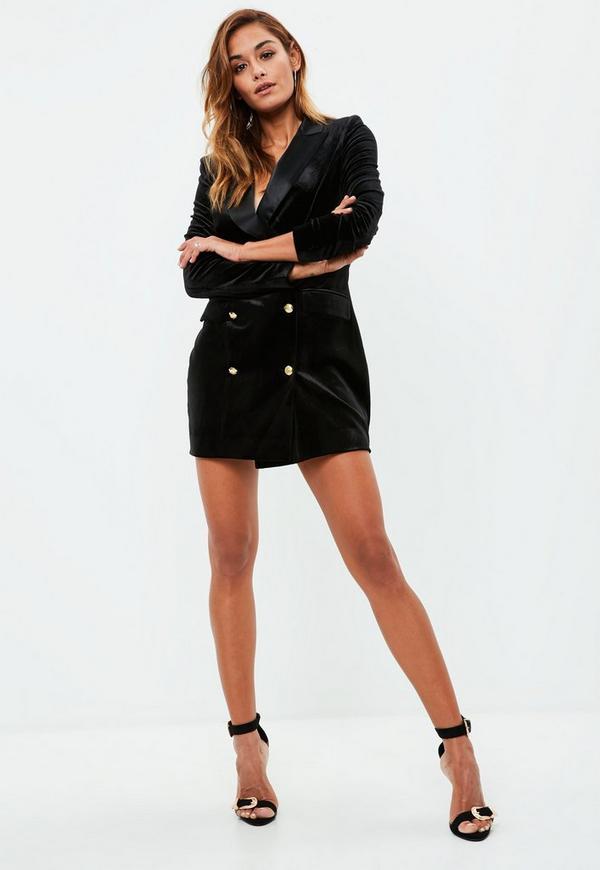 black velvet gold button blazer dress missguided