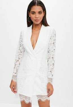 White Lace Blazer Dress