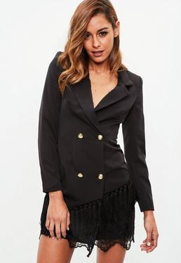 Vestido blazer con bajo de borlas en negro