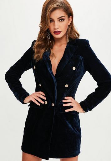 Navy Velvet Gold Button Blazer Dress Missguided