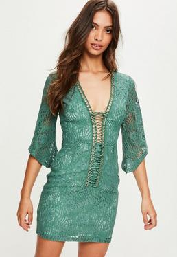 Green Lace Flared Sleeve Plunge Lace Up Dress