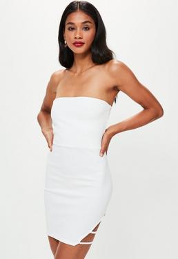 White Bandeau Side Strap Mini Dress