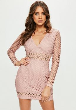 Pink Lace Plunge Eyelet Detail Longsleeve Bodycon Dress