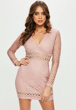 Pink Lace Plunge Eyelet Detail Longsleeve Bodycon Dress