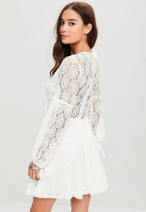 white lace plunge tie neck skater dress missguided