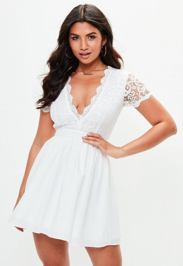 White Lace Plunge Front Skater Dress Missguided