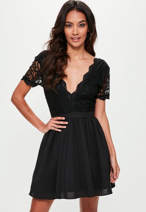 Plunge front black dress