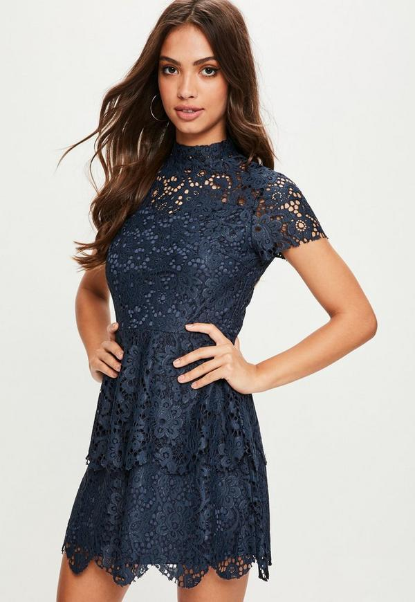 Navy short sleeve double layer skater dress missguided for Robes de mariage double baie