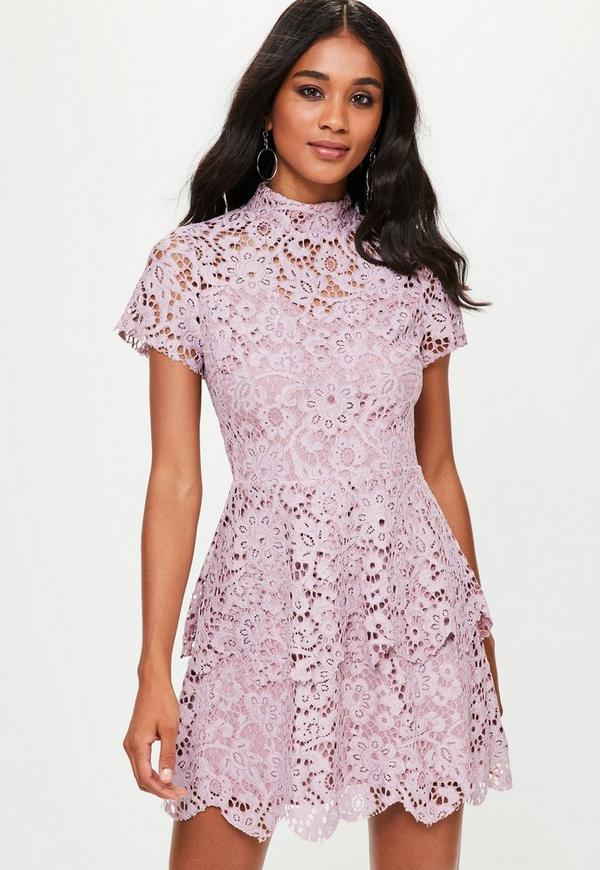 Purple Short Sleeve Lace Double Layer Dress | Missguided