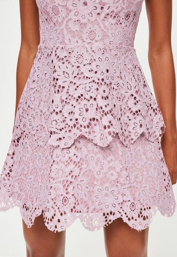 Purple Short Sleeve Lace Double Layer Dress Missguided