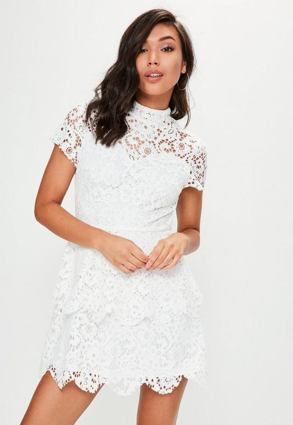 White Short Sleeve Lace Double Layer Dress Missguided