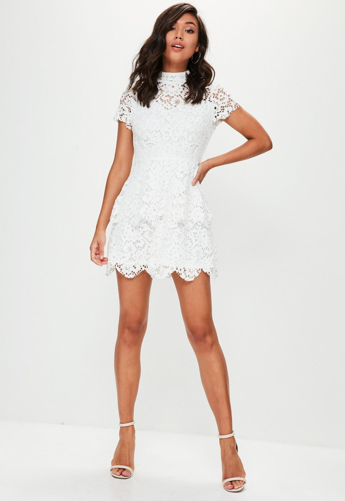 f77f834ffced Missguided - white short sleeve double layer skater dress