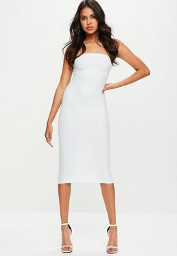 White Strapless Bandage Midi Dress