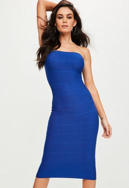 Blue Strapless Bandage Midi Dress