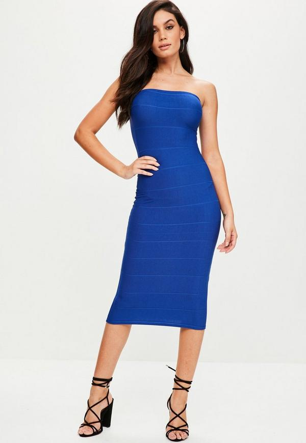 Blue Strapless Bandage Midi Dress | Missguided
