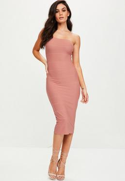 Pink Strapless Bandage Midi Dress