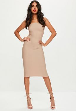 Nude Strapless Bandage Midi Dress
