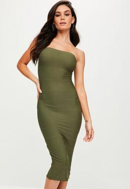 Khaki Strapless Bandage Midi Dress