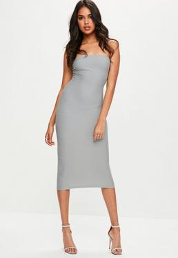 Grey Strapless Bandage Midi Dress