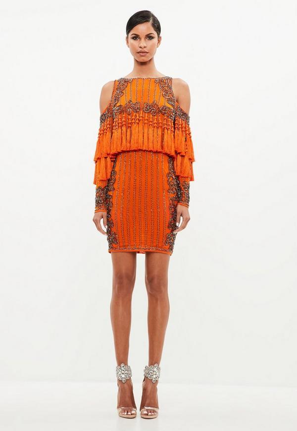 Peace + Love Orange Tassel Mini Dress   Missguided