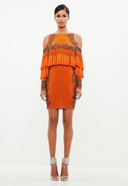 Peace + Love Orange Tassel Mini Dress