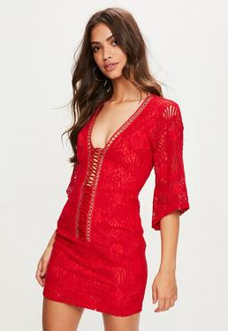 Red Lace Flared Sleeve Plunge Lace Up Dress